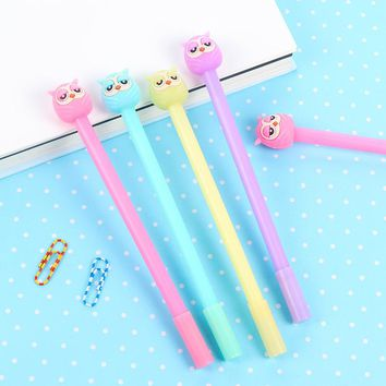 1Pcs New Candy Color Mini Cute Owl Gel Pen Ink Marker Pen School Office Supply Stationery Gift Pen E0206
