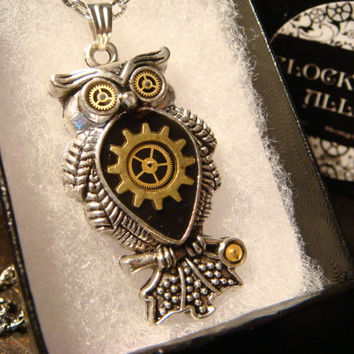 Steampunk Owl with Gears Necklace (1855)