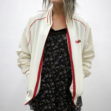 vtg 90's 80's white red racing jacket, vintage windbreaker, seapunk, 1980s 1990s ironic tumblr urban soft grunge vaporwave aesthetic fashion