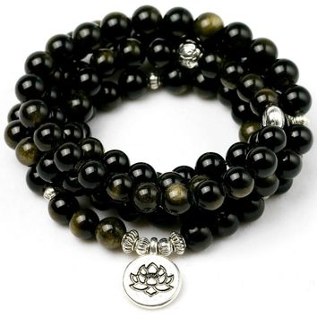 Natural Gold Obsidian Stone Yoga Balancing Reiki Healing Lucky Charm Bracelet Meditation Elastic Bracelets Male Jewelry