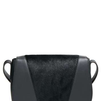 Vince 'Modern V' Leather & Calf Hair Shoulder Bag - Black