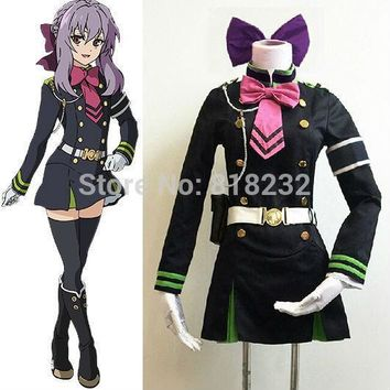 Seraph Of The End Hiiragi Shinoa Uniform Dress Outfit Cosplay Costumes