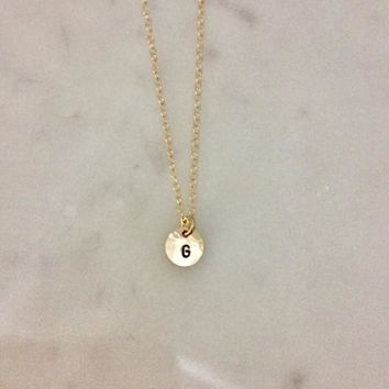 Tiny Disc Initial Necklace