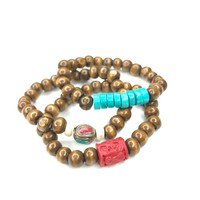 Wooden Beads with Red Coral, Turquoise and Tibetan Beads (Set of 4)