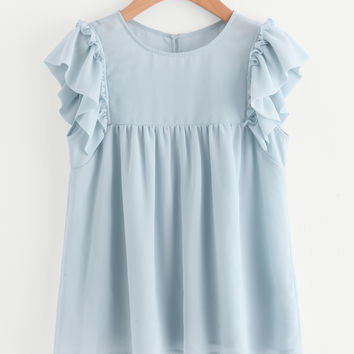 Tied Mesh Back Ruffle Hem Blouse | MakeMeChic.COM
