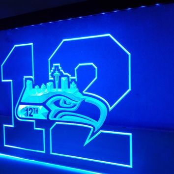 LR062 Seattle Seahawks 12th Man LED Neon Sign