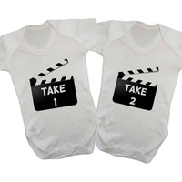 Take One Take Two Movie Snapbacks Matching Twin Baby Onesuits