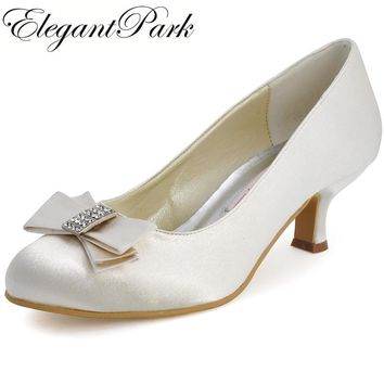 Women Shoes A2000 Ivory White Med Heels Bow Rhinestone Round Toe Satin Women Prom Wedding Bridal Pumps
