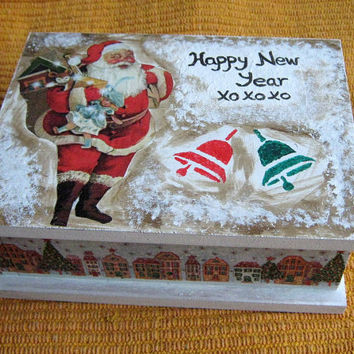 Jewelry Storage Box - Hand Painted Jewellery Box - Decoupage box - Christmas - Santa Claus