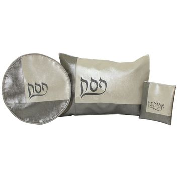 3 Piece Faux Leather Seder Set