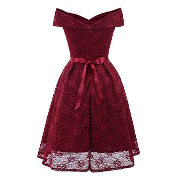 New Sexy Short Evening Dress Lace Wine Red pink A-line Party Formal Dress Homecoming Graduation Dresses with sash
