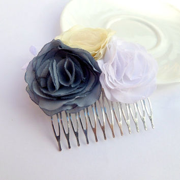 Clip for hair Comb Gray, white, ivory flowers Flower accessory  Wedding  Hair comb Accessory for women