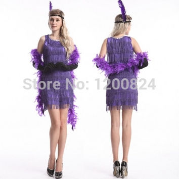 free shipping Adult 20s Purple Flapper Costume Womens 1920s Fancy Dress Party Classic Halloween Costume Outfit