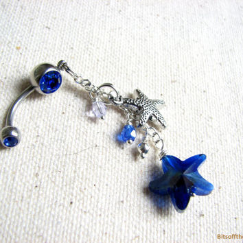 Cobalt Blue Starfish Belly Button Ring -  Long Dangle Belly Button Jewelry, Sea Star Jewelry, Beach Belly RIng, Bellybuttonring, Navel Ring
