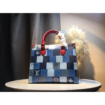 LV Louis Vuitton LV Patch work ON THE GO Inspired Style Women Handbag Tote Shoulder Extremely Large 41.0  cm 30cm Bag Brown Monogram Plus Reverse Universal Color Organizer Onthego Bag made of Canvas