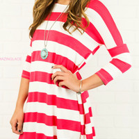SZ LARGE The Way It Goes Hot Pink Striped Quarter Sleeve Dress