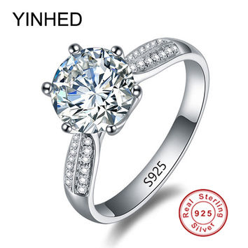 100 solid silver ring stamp s925 big 3 carat sona cz diamond engagement ring 925