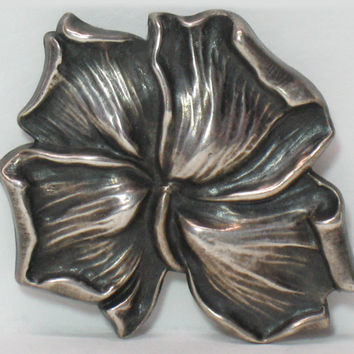 KERR Leaf Pin Brooch Art Nouveau  Sterling Silver Flower Jewelry  VINTAGE