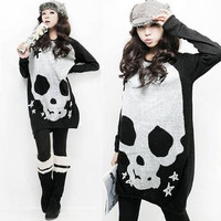 Women Scoop Neck Full Batwing Sleeve Skull Heads Prints Long Pullover AutumnT-shirt  D306-8217 = 1945911236