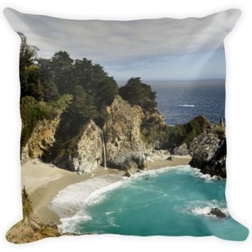 Decorative Throw Pillow / Big Sur, California - Julia Pfeiffer Burns State Park Waterfalls