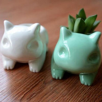 2016Kawaii Pokemon Ceramic Flowerpot Bulbasaur Planter Cute White Green Succulent Plants Flower Pot With Hole Cute