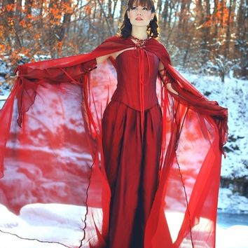 Miranda Magical Medieval Corset Fantasy Gown with Detachable Sleeves and Cape