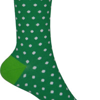 Small Polka Dots Crew Socks in Kelly