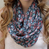 Floral Infinity Scarf, Circle Scarf, Eternity Scarf, Brown, Cream, Peach, Orange, Green