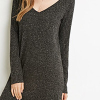 Black V Neck Long Sleeve Knit Dress