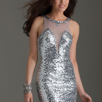 Clarisse 2468 - Platinum Sequin Illusion Homecoming Dresses Online
