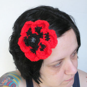 Large Poppy Floral Fascinator Barrette Hair Clip in Electric Red, ready to ship.