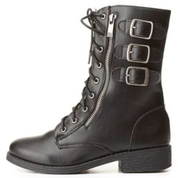 Bamboo Triple-Belted Combat Boots by Charlotte Russe - Black