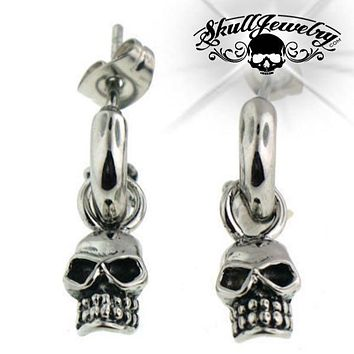 Stainless Steel Skull Post Earrings (e039)