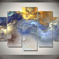 Abstract Colors Clouds 5-Piece Wall Art Canvas