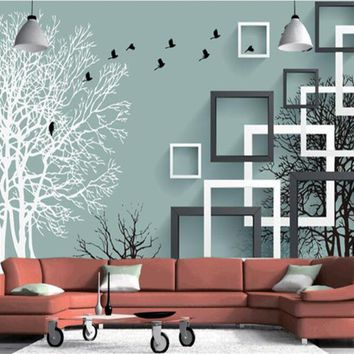 beibehang wallpaper for walls 3 d Stereo Fashion Creative Wallpaper 3D Abstract Trees Flying Birds Bedroom Background wall paper