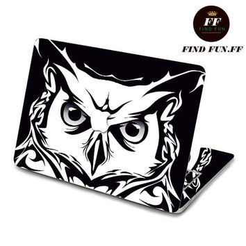 back cover of decal Macbook Air Sticker Macbook Air Decal Macbook Pro Decal 大头猫头鹰-058