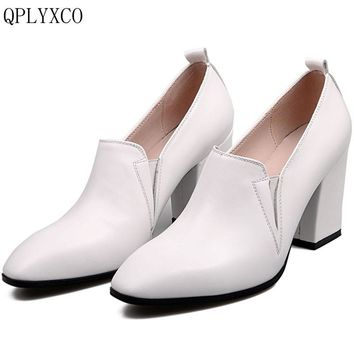 QPLYXCO 2017 New Sale size 34-41 Genuine Leather Women Square Toe high hell Platform party wedding High quality shoes A092