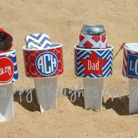 Monogrammed Sand Spiker for 4th of July with Vinyl Wrap Personalization
