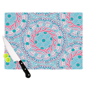 "Miranda Mol ""Prismatic White"" Blue Pink Abstract Cutting Board"