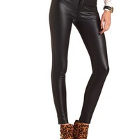 HIGH WAISTED FAUX LEATHER SKINNY PANT