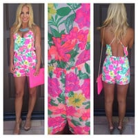 Malibu Barbie Floral Cross Back Romper