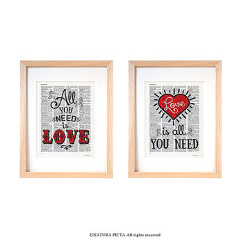 All you need is love print-love is al you need print-set of two prints-anniversary print-love print-love dictionary print-NATURA PICTA-DP138