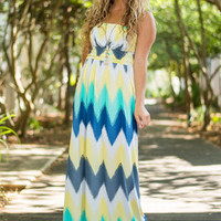 Ocean View Maxi Dress, Yellow-Mint