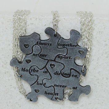 Friendship Set of 5 Best Friend Pendants Linking Jewelry Silver painted leather Always together saying