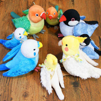Kotori Series Soft and Downy Handmade Toy Cute Bird Small Size Parrot Stuffed Plush Stationary Kawaii Doll 13cm (Lovebird)- 251-075130