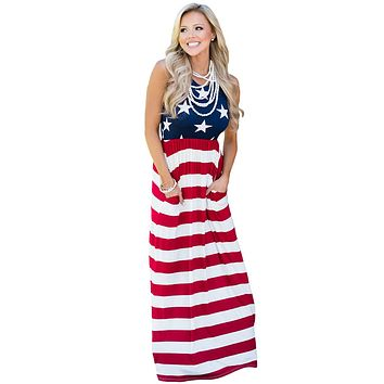 Country Love American Flag Maxi Dress