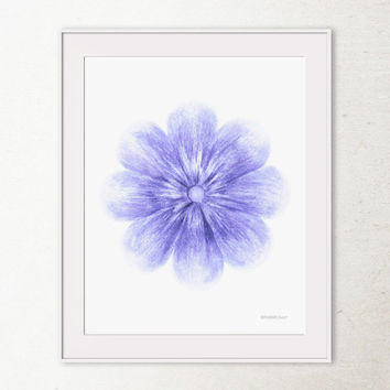 Blue flower wall art, Blue home decor, Bathroom wall decor Blue wall print, Digital printable wall art print, Blue Spring flower art print