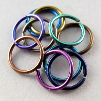 10 NIOBIUM NOSE RINGS / 8mm. piercing / ear. cartilage ring /brow ring / niobium hoop.