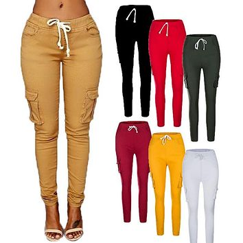 NIBESSER 2018 Autumn Ladies Cargo Pants Lace up Women Casual Pencil Pants Female High Waist Pant Multi-Pocket Joggers Sweatpants