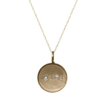 Medium Framed Gold Disc With Date And Diamonds Necklace